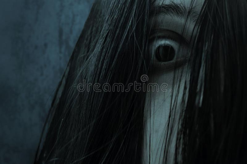Close up of eye scary ghost woman. Close up of eyes scary ghost woman stock photography