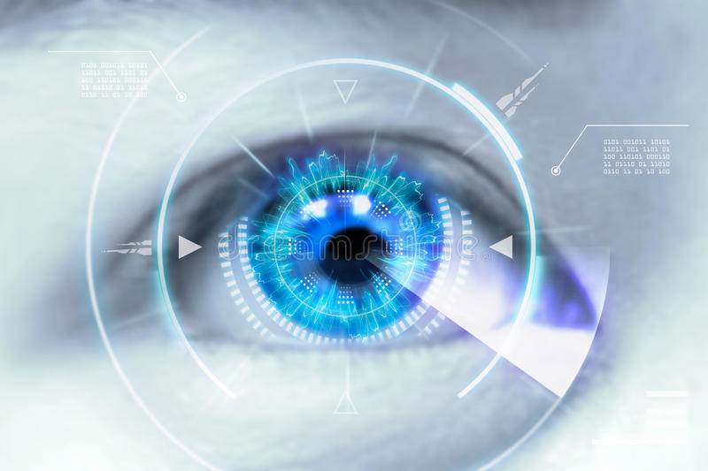 Close up eyes of technologies in the futuristic. : contact lens royalty free stock image