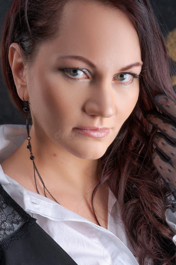 Close-up fêmea bonito do retrato, composição da beleza imagens de stock royalty free