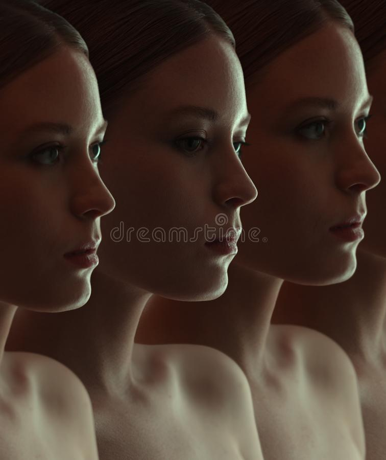 Close-up of the face of beautiful robot girls. Dark group portrait royalty free stock photo