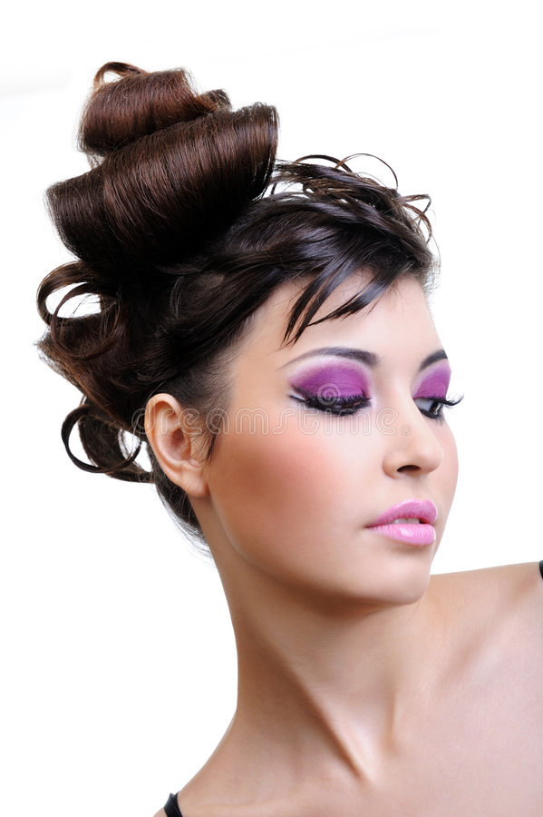 Close-up face with bright violet make-up royalty free stock photo