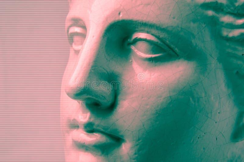 Close up face gypsum copy antique sculpture with craquelure. Red green vaporwave effect. Textured. Close up face gypsum copy antique sculpture with craquelure stock photos