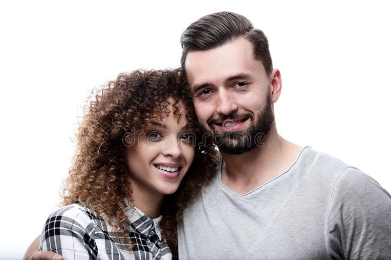 Close-up face of a man and a woman. stock images