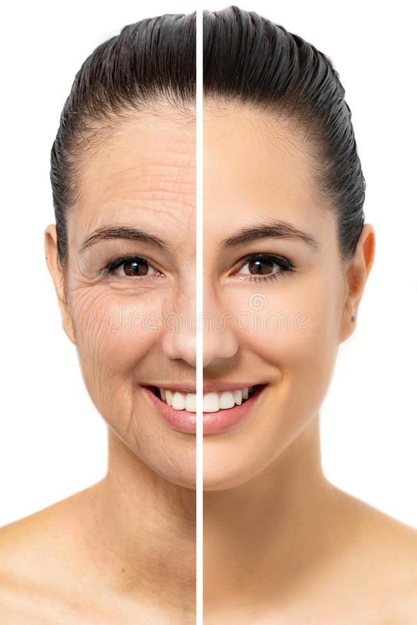 Conceptual female facial aging comparison. royalty free stock photography