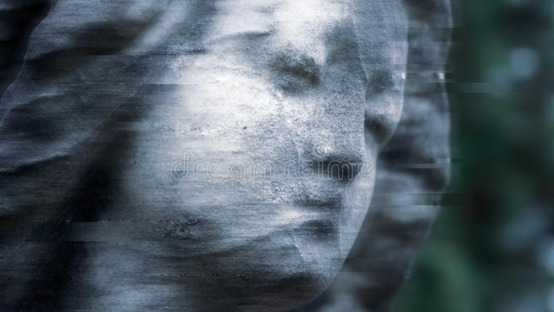 A close up of the face of a statue of a Victorian graveyard angel. With a shallow depth of field and glitch, digital, blurred stock images