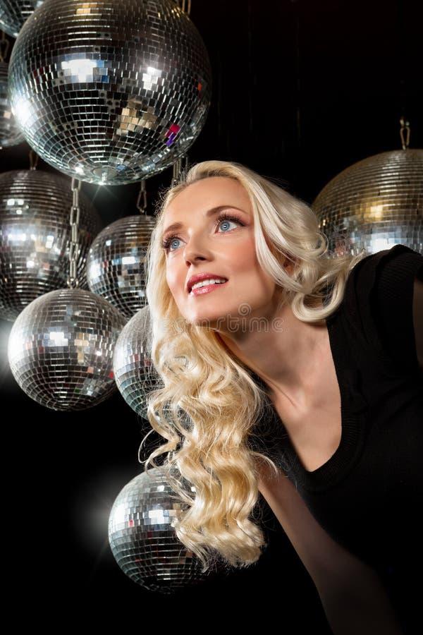 Woman disco mirror ball royalty free stock photography