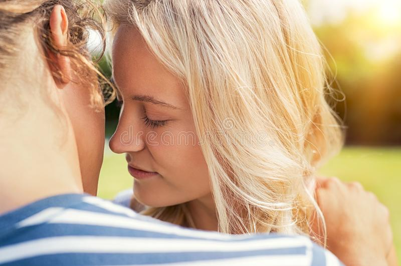Couple in love kissing royalty free stock photo