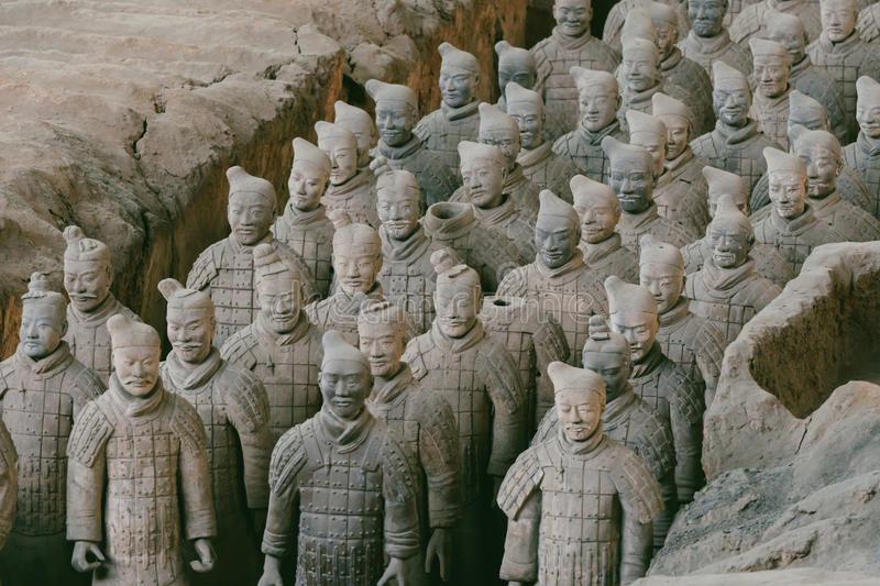 Close-up of famous Terracotta Army of Warriors in Xian, China.  royalty free stock images