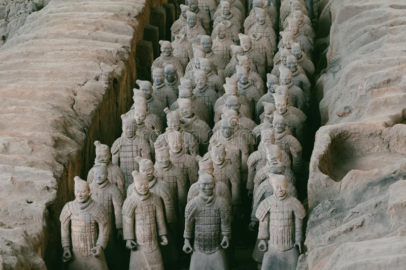 Close-up of famous Terracotta Army of Warriors in Xian, China stock photos