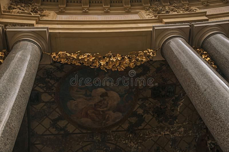 Close-up of the far-fetched decoration of arch and columns at the Petit Palais courtyard in Paris. stock image