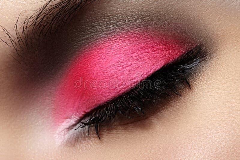 Close-up of fashion eyes make-up, bright eyeshadow royalty free stock images