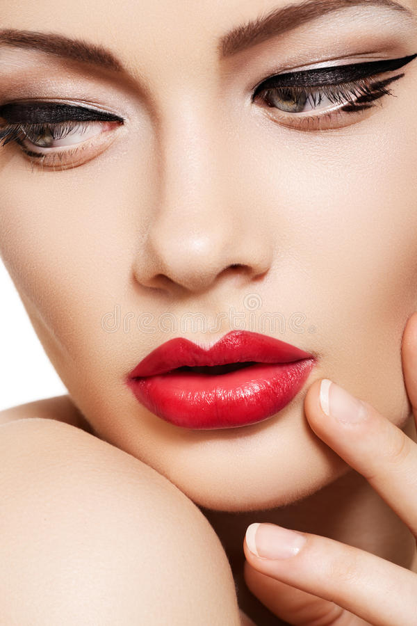 Download Close-up Fashion Model Face, Glamour Lips Make-up Stock Image - Image: 19886607