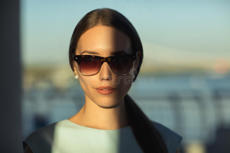 Close up fashion portait of business woman outdoor. royalty free stock photo