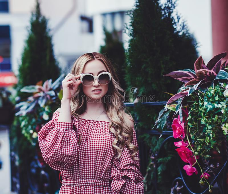 Close up fashion portrait of amazing young woman stock photo