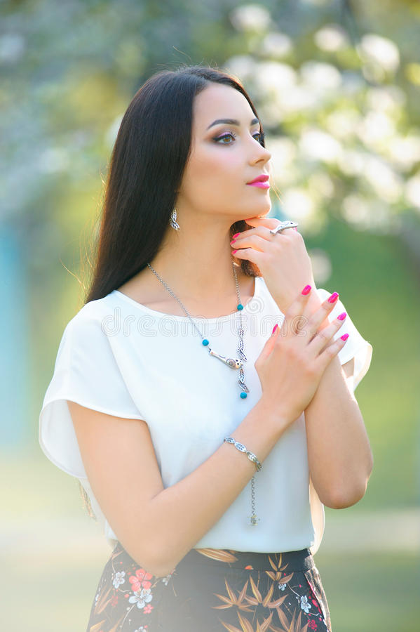 Close-up Fashion woman portrait with jewelry collection. Spring stock images