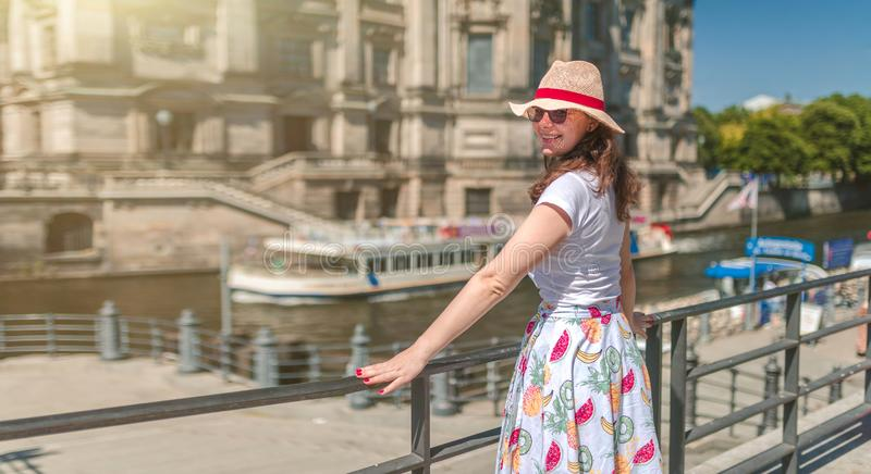 Close-up Fashion woman portrait of young pretty trendy girl posing at the city in Europe royalty free stock photo