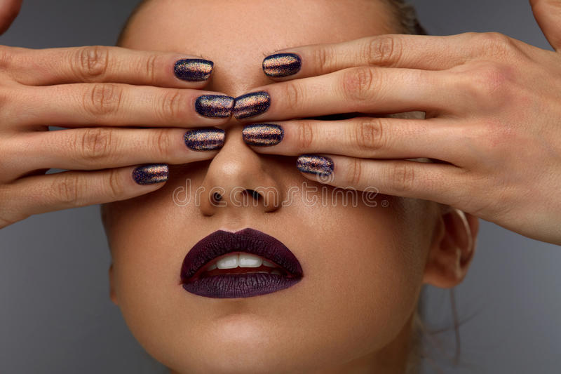 Close Up Fashion Woman With Professional Makeup And Nails Stock ...