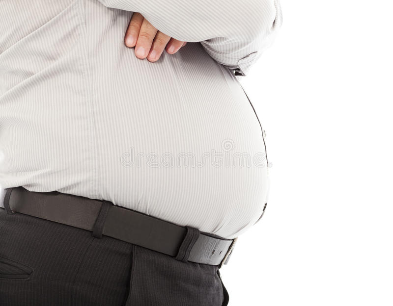 Close-up fat business man standing and hands across stock image