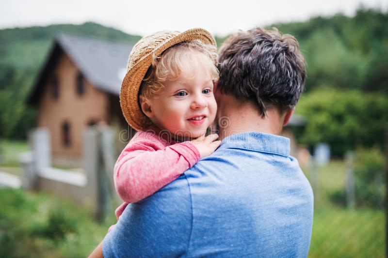 A close-up of father with toddler boy standing outdoors in garden in summer. royalty free stock image
