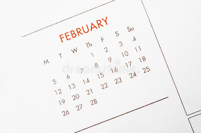 Download February calendar page. stock image. Image of word, paper - 105109359