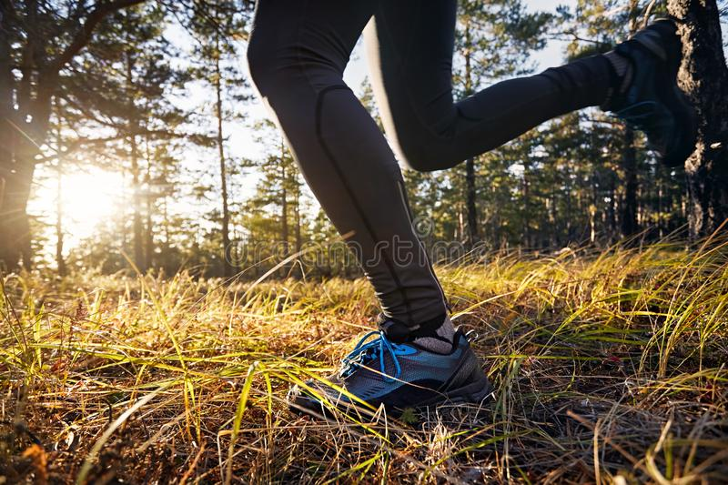 Close up of trail running feet royalty free stock photography