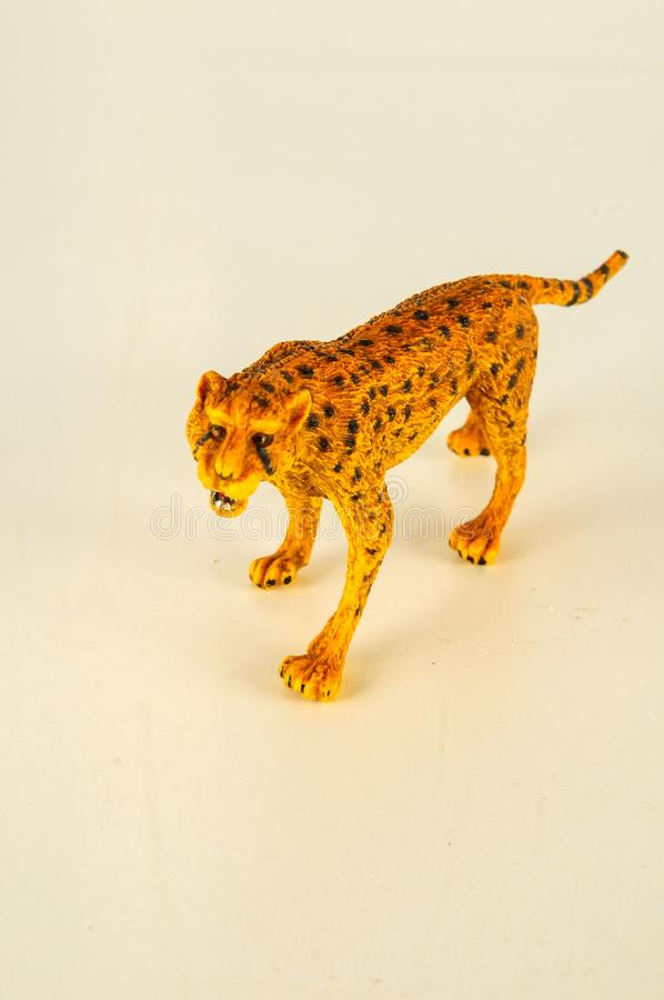 Close-up of feline cat lion plastic animal. Object on a White Background royalty free stock photos