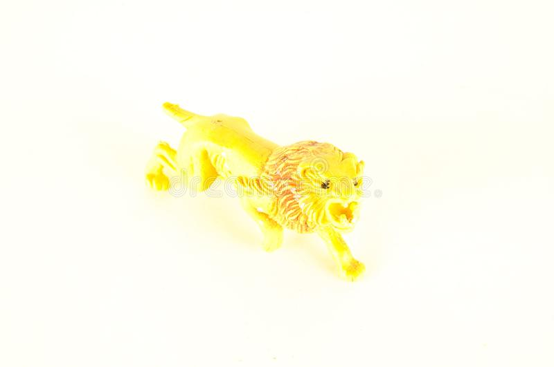 Close-up of feline cat lion plastic animal. Object on a White Background stock photography