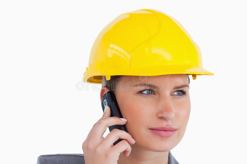 Close Up Of Female Architect On Her Cellphone Stock Photos