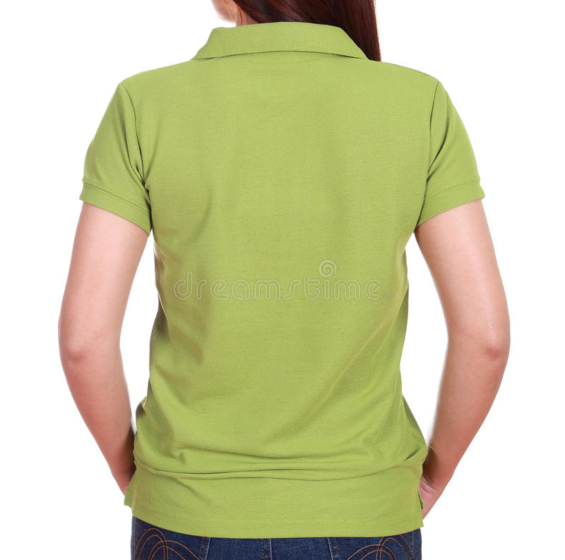 Close-up Female With Blank Green Polo Shirt (back Side ...