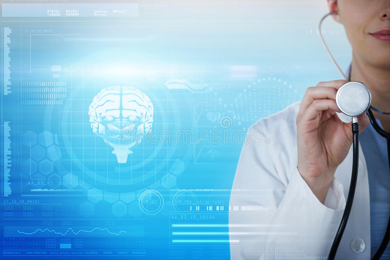 Composite image of close-up of female doctor holding stethoscope royalty free stock photography