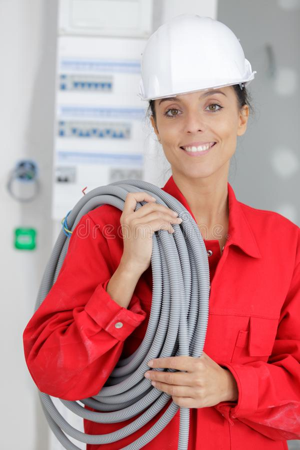 Close-up female electrician royalty free stock images