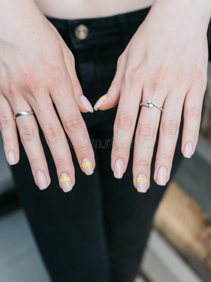 Closeup of stylish trendy female manicure stock image