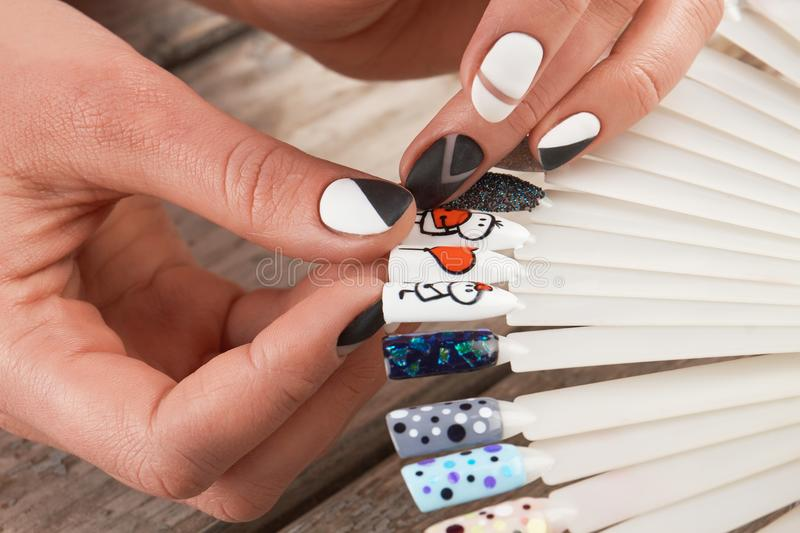 Close Up Of Female Hands And Nail Art Samples Stock Image Image