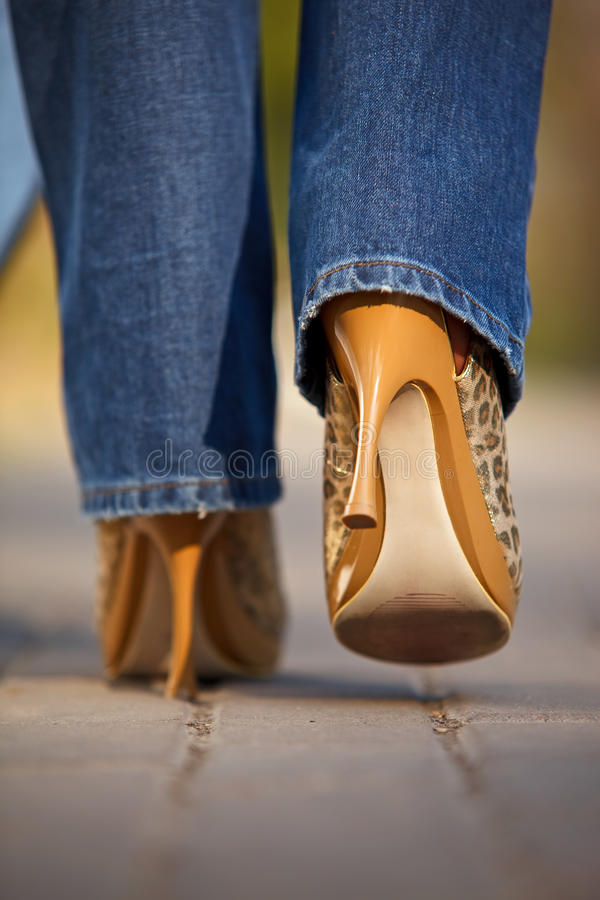 Download Close-up Of Female In Jaguar Spotted Shoes Walking Stock Photo - Image of elegant, modern: 13990162