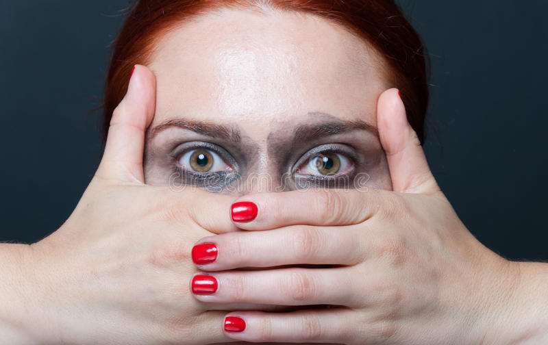 Close-up of female model looking surprised stock photo