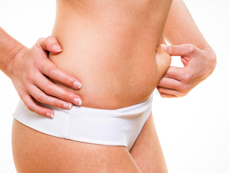 Close-up of female pinching skin belly. Close-up of pretty female pinching skin of her belly stock image