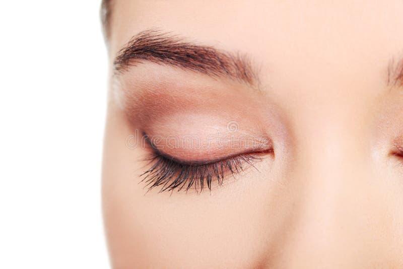 Close up on female's face- eye. stock image