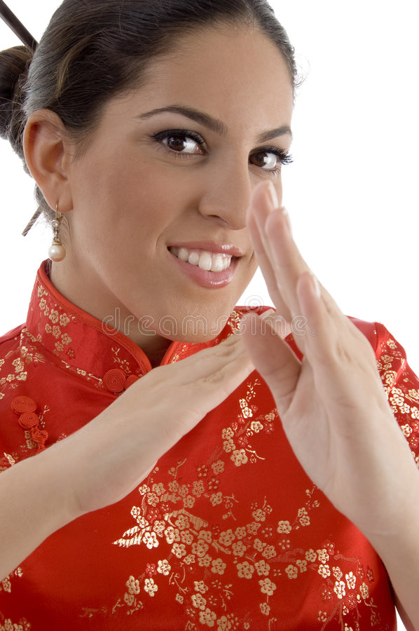 Download Close Up Of Female Showing Karate Gesture Stock Image - Image of beautiful, attractive: 7206259