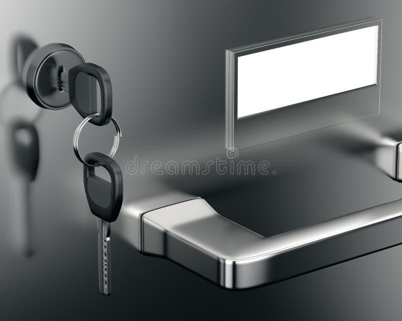 Close-up file cabinet drawer. With keys. 3d render vector illustration
