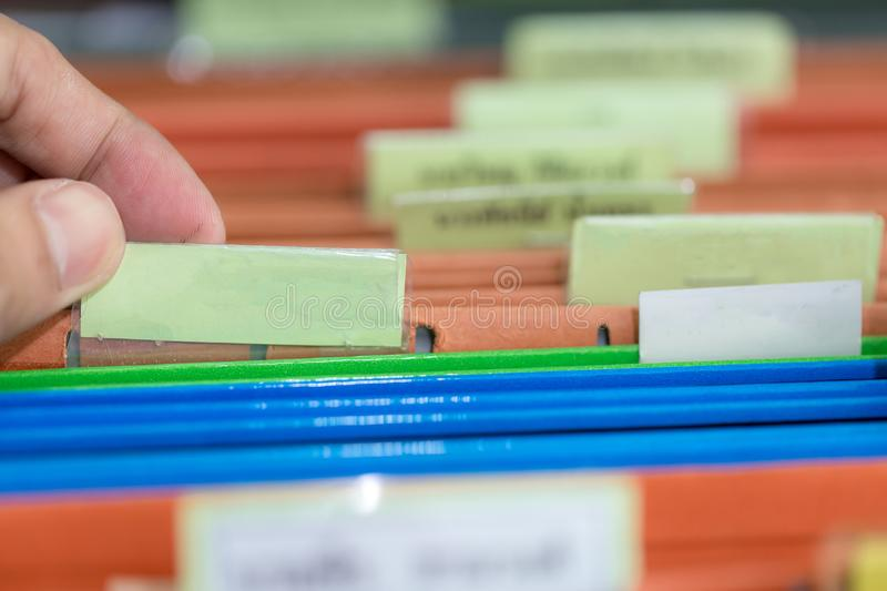Close up of file folders with personal finance documents stock image