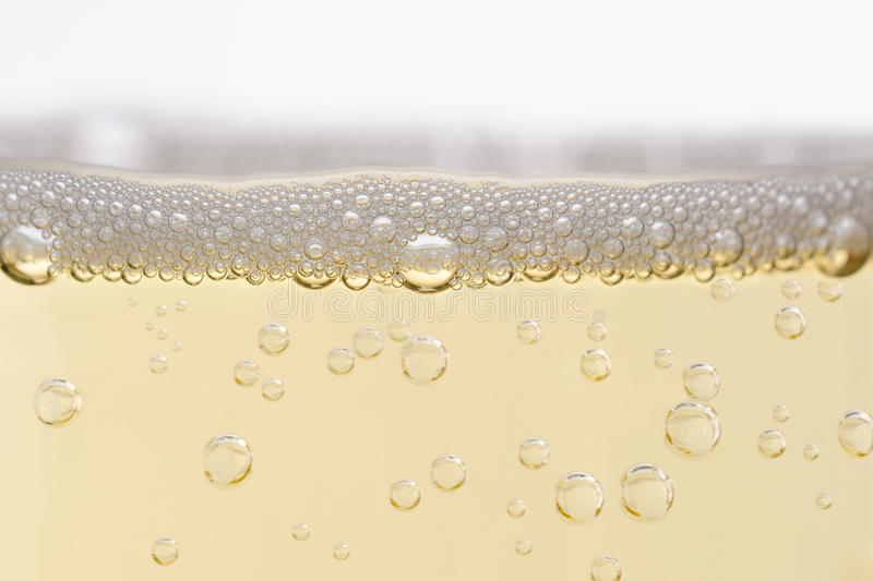 Close Up of Filled Champagne Glass with Rising Bubbles royalty free stock images
