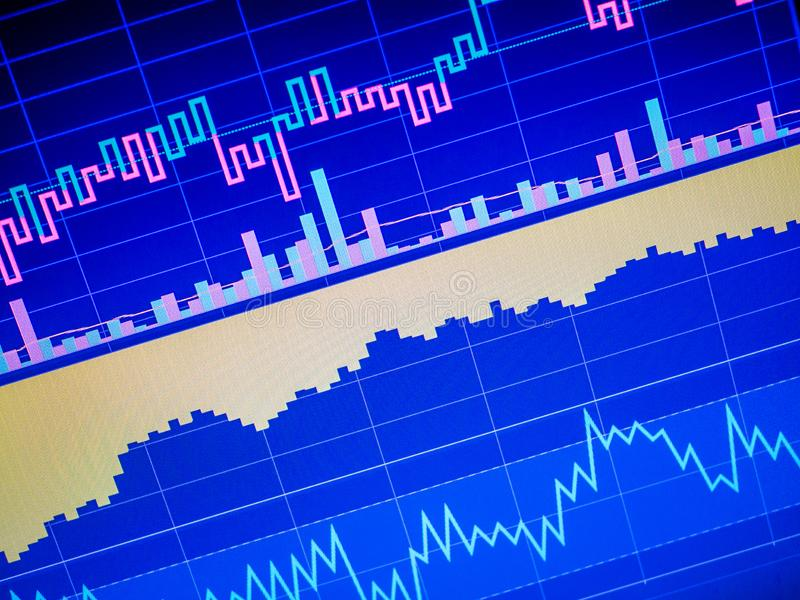 Close up of finance business graph. Stock market data stock illustration