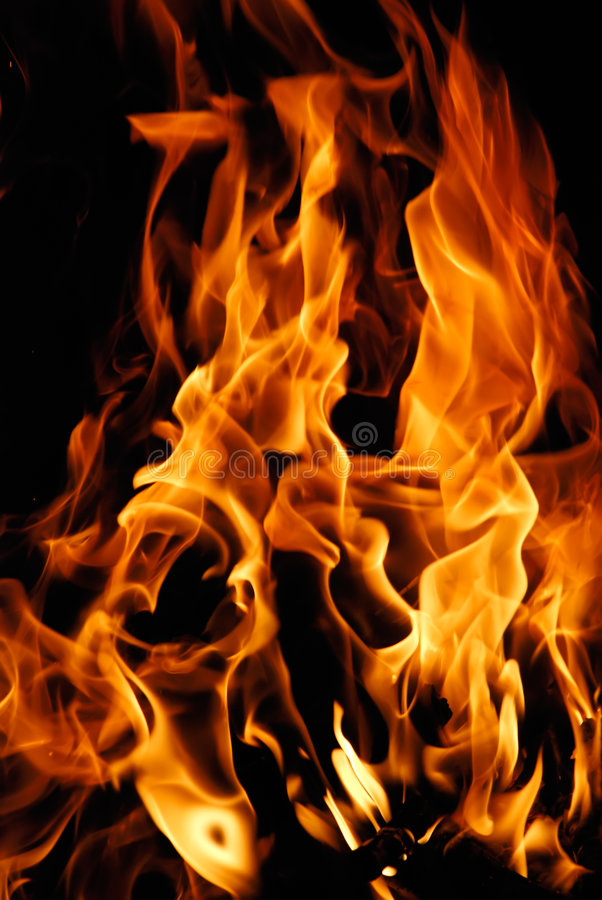Close-up of fire on a black royalty free stock photo