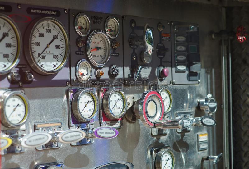 Close-up fire truck equipment detail. Fire control panel, dials and dashboard.  stock photo