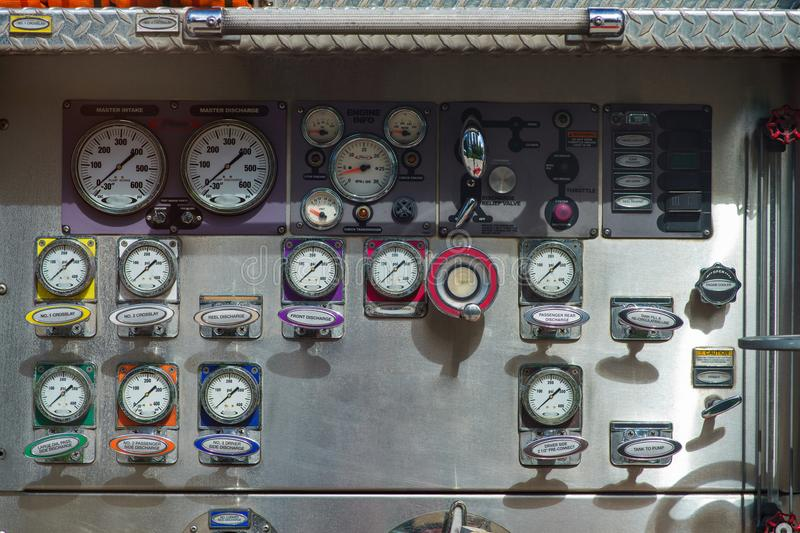 Close-up fire truck equipment detail. Fire control panel, dials and dashboard.  royalty free stock photography