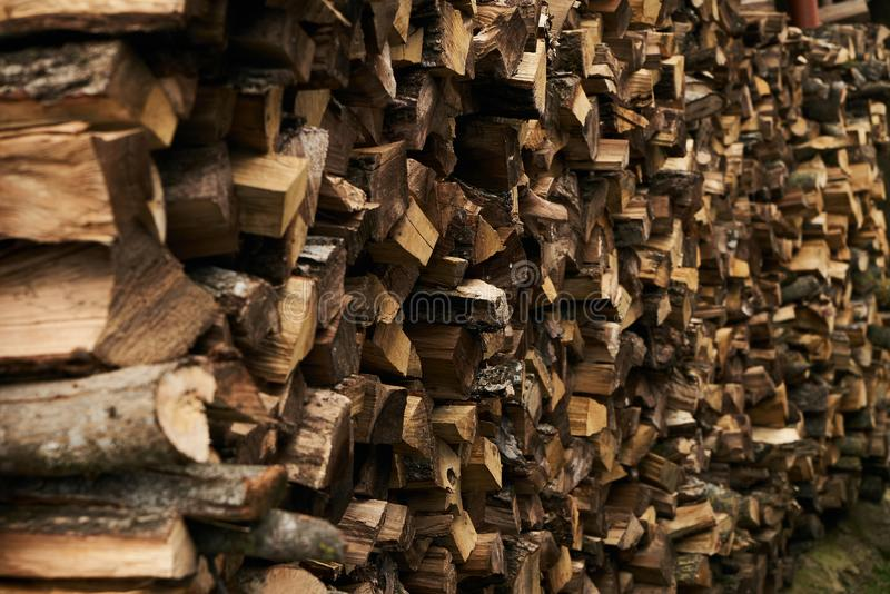 Close-up of a firewood pile royalty free stock photography