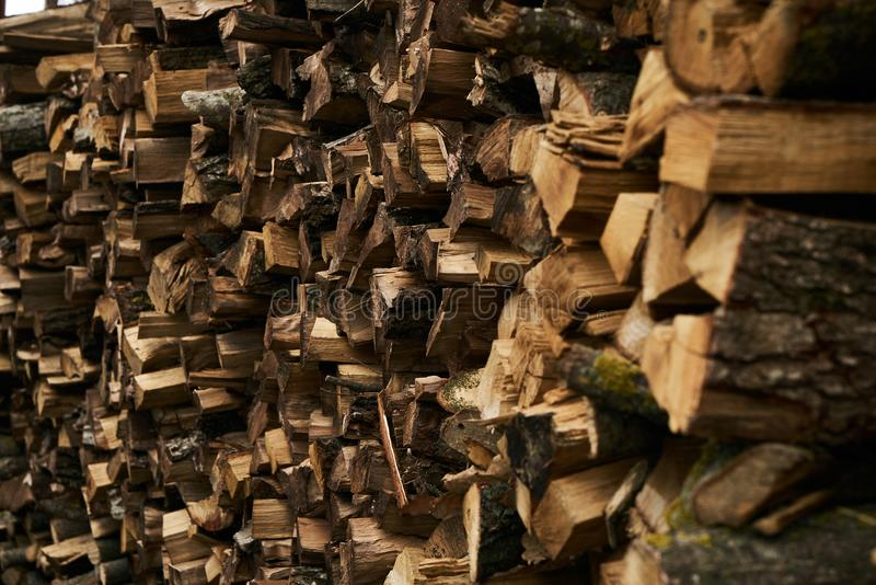 Close-up of a firewood pile royalty free stock photo