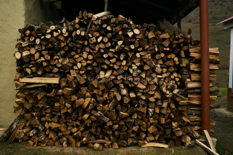 Close-up of a firewood pile stock photo