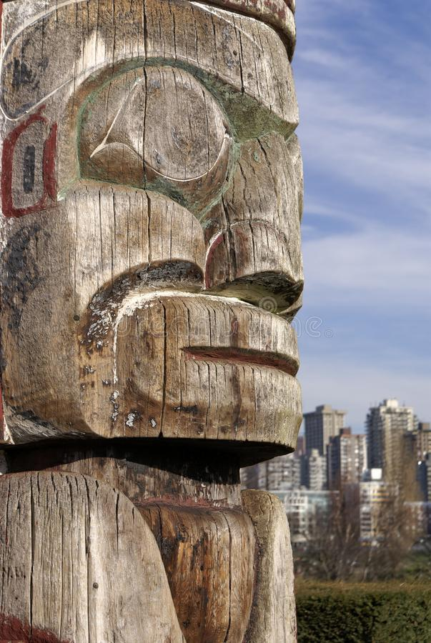 First Nations totem pole Vancouver royalty free stock photos