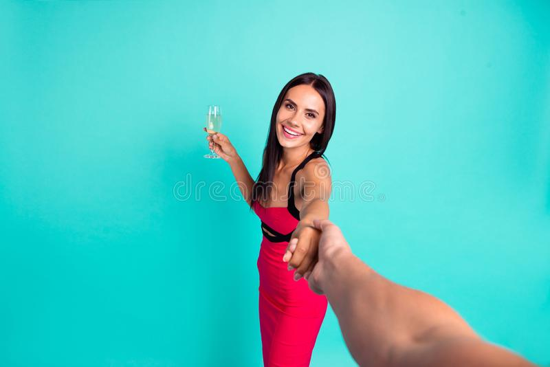 Close up first person view photo beautiful she her lady chill hold arm hand boyfriend ask follow me golden wine glass royalty free stock images